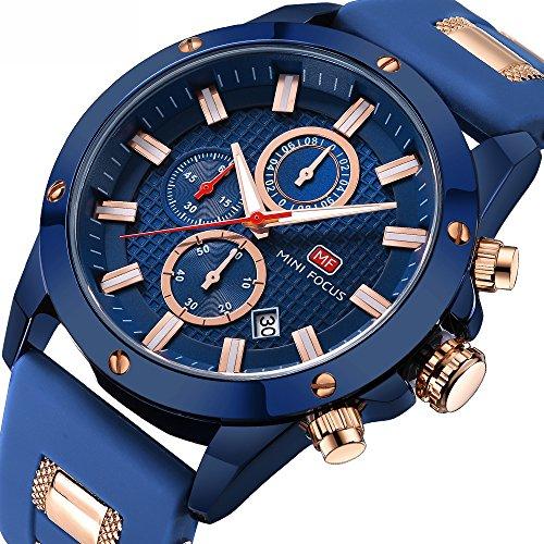 Uhren-Herren-Wasserdicht-Herren-Analog-Quarzuhr-mit-Kautschukband-Herren-Sportuhr-Chronograph-Date-Business-Kleid-Armbanduhr-fr-Mnner-Gold-Blau-Uhr
