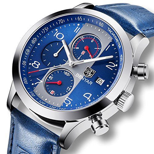 Fashion-Herren-Uhren-Chronograph-Analog-Quarz-Datum-Wasserdicht-Blau-Leder-Sport-Armbanduhr