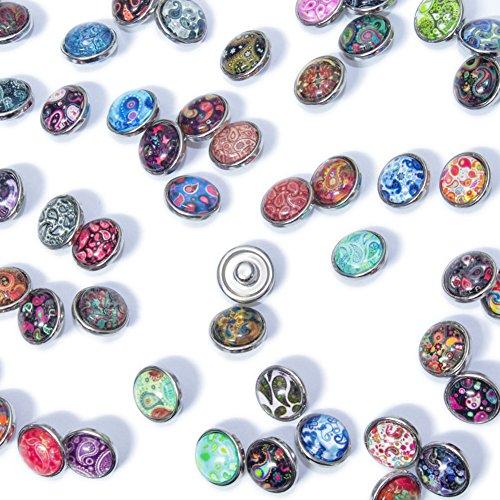 Soleebee Glas Aluminium 12mm Click Button Schmuck Charms Set 30 Stück – Cashew-Blume