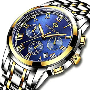 WISHDOIT-Herren-Armbanduhr-wasserdicht-Top-Marke-Mode-Sport-Chronograph-analog-Quarz-blaues-Zifferblatt-Kalender-fr-Herren-Business-Casual-Armbanduhr-Gold-Blau