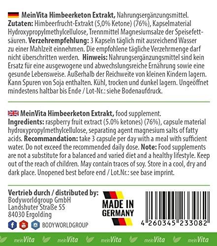 MeinVita Himbeerketon Extrakt – 1350 mg (Tagesportion) – hochdosiert – 100% vegane Kapseln, 90 Stück (53 g)