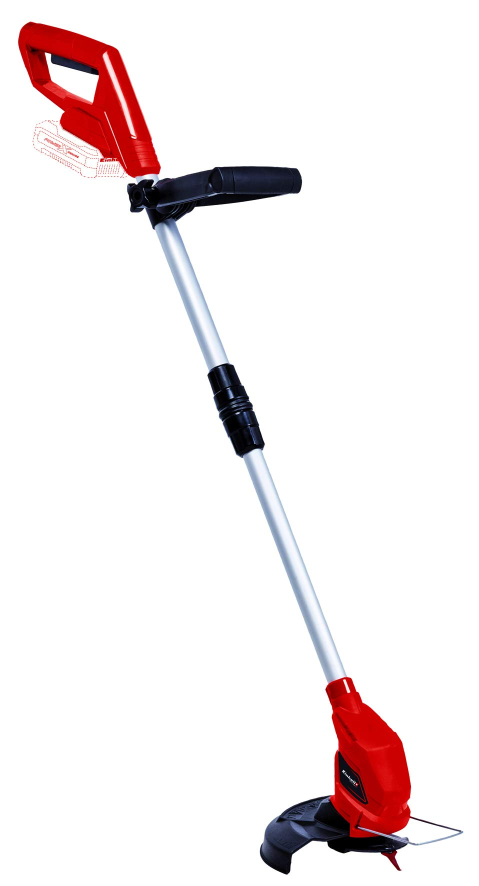 Einhell-Akku-Rasentrimmer-GC-CT-1824-Li-Solo-Power-X-Change-Li-Ion-verstellbarer-Teleskop-Fhrungsholm-und-Zusatzhandgriff-Flowerguard-inkl-20-Kunststoffmesser-ohne-Akku-und-Ladegert