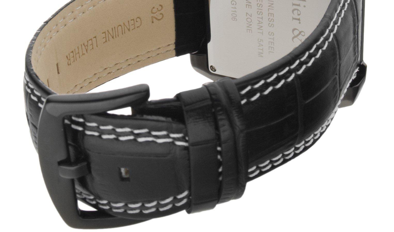 Boudier-and-Cie-Quarz-Uhr-Armbanduhr-fr-Mnner-Herren-mit-zwei-Zeitzonen-Analoge-Anzeige-und-Leder-Armband-in-Schwarz-Klassische-Herrenuhr-Mnneruhr-Wasserdicht-OZG1092