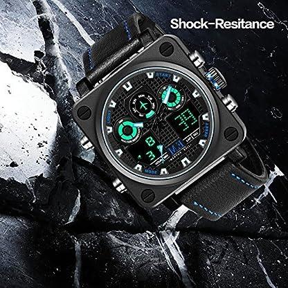 Menton-Ezil-Digital-Herrenuhr-mit-schwarz-Lederband-Multifunktionen-Alarmuhr-Lederarmbanduhr-50M-Wasserdicht-EL-Hintergrundbeleuchtung-Zwei-Uhrzeitangaben-Geschenk-fr-Mnner