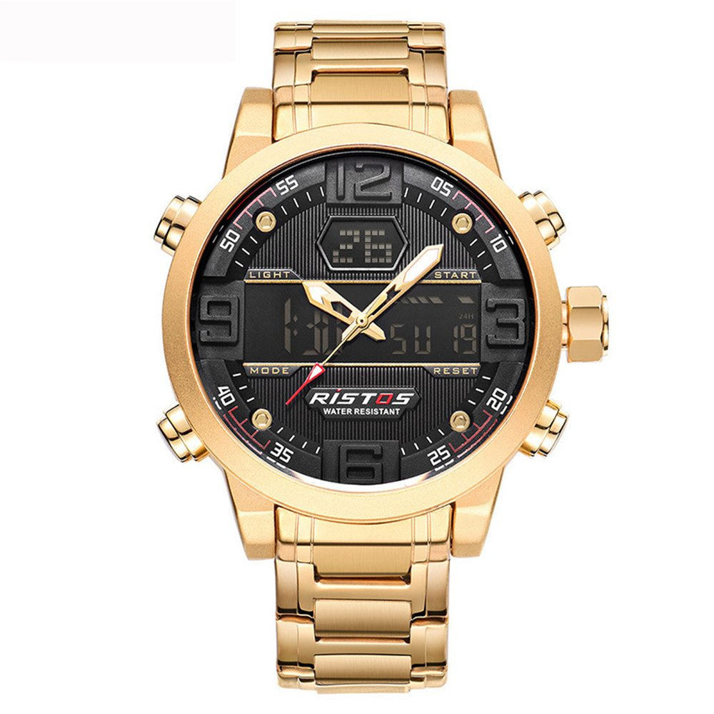 GOHUOS-Herren-Digital-Analog-Quarz-Uhr-Dual-Time-Display-Gold-Edelstahl-Auto-Date-Chronograph-Armbanduhr-Wasserdicht-Sports-Bussiness-LED-Backlight-Black-Dial-Stoppuhr-mit-Alarm