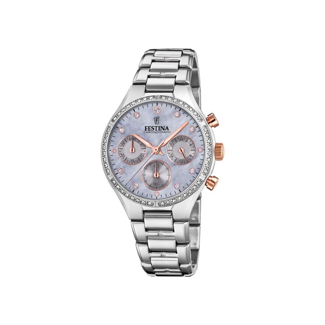 Festina-Damen-Chronograph-Quarz-Uhr-mit-Edelstahl-Armband-F204013