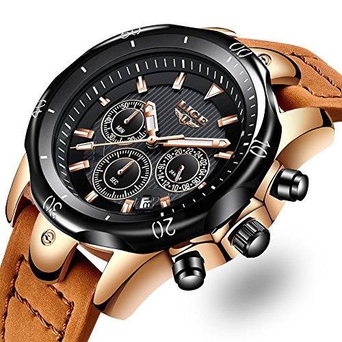 Herrenuhren-Mode-Braun-Lederband-Uhr-Lssige-Mnner-Chronograph-Militrische-Sportuhr-Analog-Quarz-Wasserdicht-Schwarzes-Zifferblatt-Uhren-Mnner-Klassiker-Luxus-Armbanduhren-fr-Herren