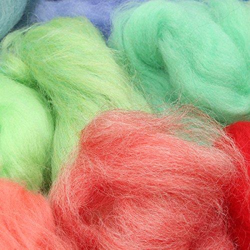 Jeteven 50 Farbe Filzwolle Märchenwolle Set geeignet für Nassfilzen und Trockenfilzen,DIY Handarbeits Puppe