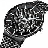Lige-Carbon-Stil-Edelstahl-Armbanduhr-Datumsuhr-Edelstahl-Mesh-Schwarz-fr-Herren