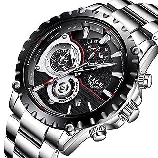 Uhren-fr-HerrenLIGE-Edelstahl-Wasserdicht-Sport-Analog-Quarzuhr-Chronograph-Datum-Kalender-Business-Casual-Luxus-Kleid-Armbanduhr-Uhr-Schwarz