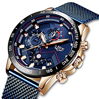 LIGE-Herren-Uhren-Freizeit-Wasserdicht-Sport-Chronograph-Quarz-Armbanduhren-Mnner-Mode-Schwarz-Edelstahl-Business-Uhren-Kalender