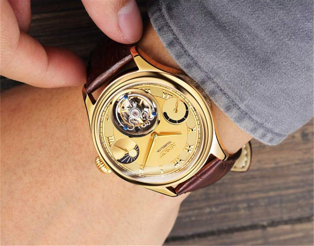 Aesop-Herren-Armbanduhr-mit-mechanischem-Handaufzug-echtes-Tourbillon-Businesskleid-Mondphase-Lederarmband-Goldbraun