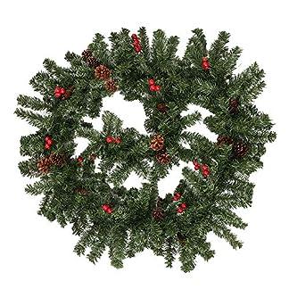 Weihnachtsgirlande-Tannengirlande-270CM-Girlande-Weihnachten-Dekoriert-Grn-Knstlich-Geschmckt-Tannen-Girlande-mit-Roter-Beeren-Zapfen-Weihnachtsdeko-Schne-Dekorationen-fr-Kamine-Treppen-Wand-Tr