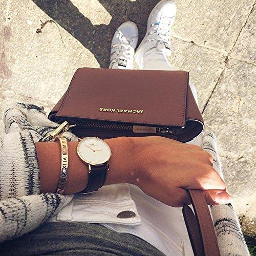 Happiness Boutique Damen Armband Römische Zahlen in Rosegold | Titan Armreif Minimalist Armschmuck für Frauen