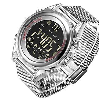 JEISO-Herren-Smartwatch-Edelstahl-Uhrenarmbnder-Kompatibel-Mit-Android-iOS-Telefonen-Silber