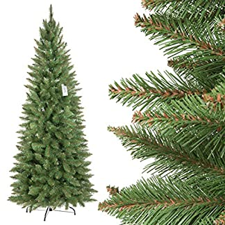FairyTrees-knstlicher-Weihnachtsbaum-Slim-Fichte-Natur-grner-Stamm-Material-PVC-inkl-Metallstnder-FT12