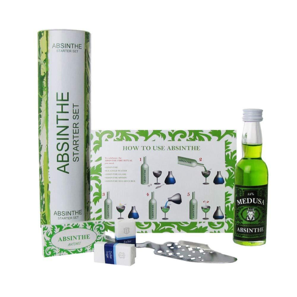 Original-Absinthe-Starter-Set-Absinth-Originale-Absinthlffel-Absinthe-Zuckerwrfel-Medusa-Absinthe-4-cl-55-vol-Alkoholische-Schnaps-Geschenk-Idee-fr-Mnner