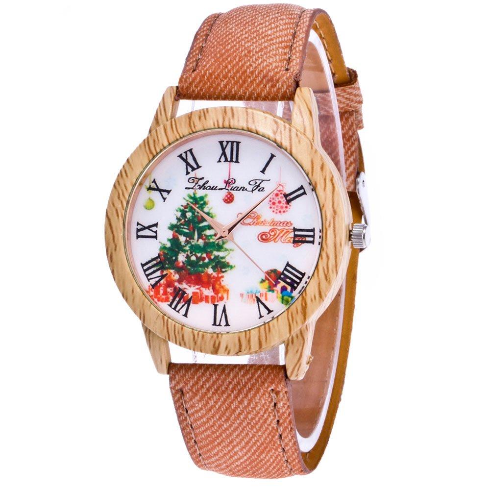 Souarts-Damen-Retro-Armbanduhr-Weihnachtsbaum-Muster-Holz-Maser-Damenuhren-Casual-Quarz-Uhren-mit-Batterie-Braun