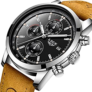 Herren-Analog-Quarz-Sport-Uhren-Chronograph-fr-Herren-Leder-Band-Fashion-Business-Armbanduhr-Wasserdicht-30-M-Herren-Casual-Handgelenk-Uhren-schwarz-Zifferblatt