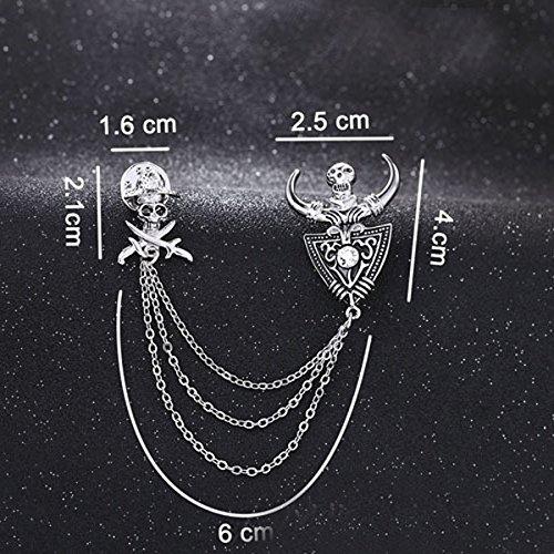 MagiDeal Schädel Brosche Anstecknadel Kragen Brosche mit Kette Geschenk Silber