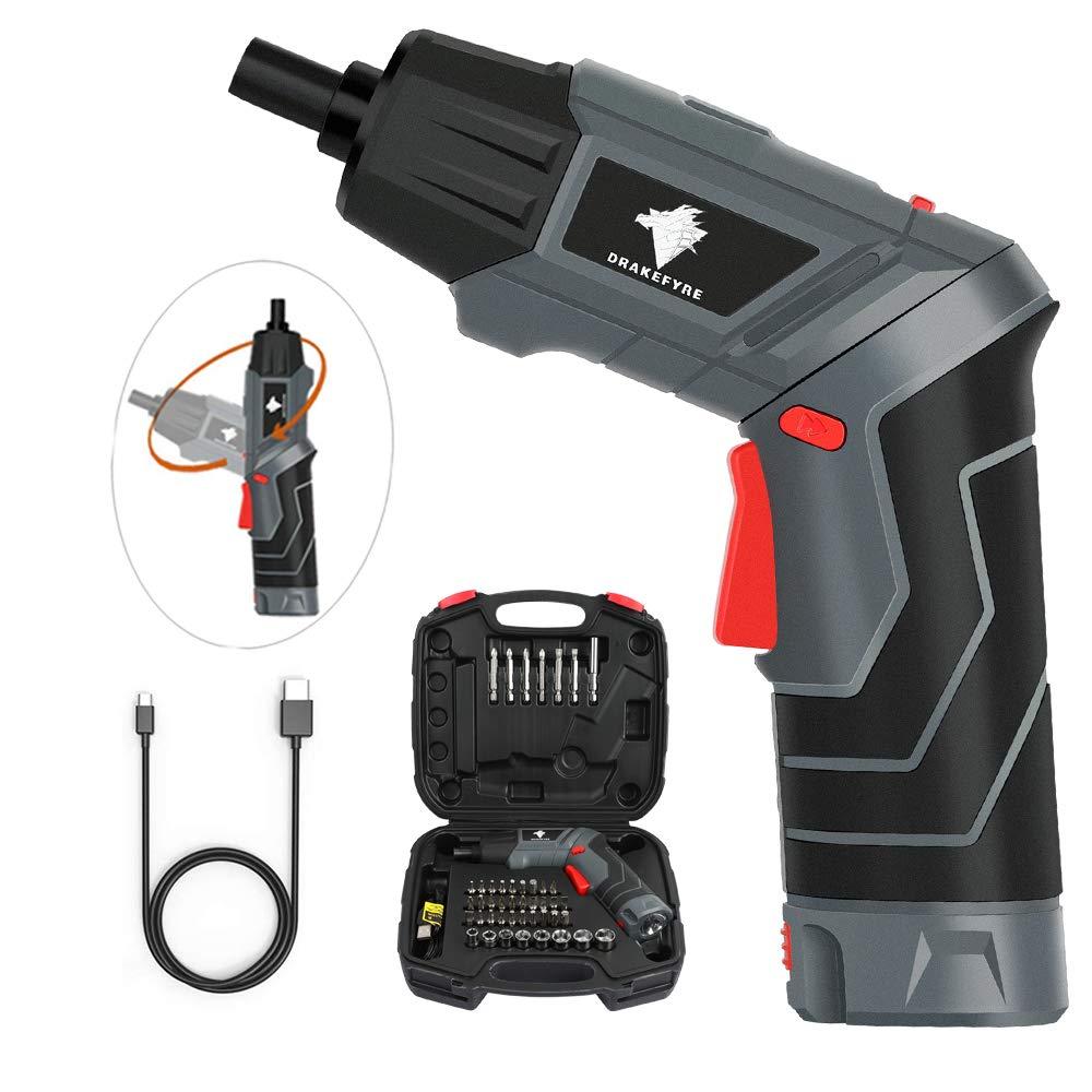 Akkuschrauber-Lypumso-Mini-Bohrschrauber-Set-wiederaufladbar-Akkuschrauber-60-Bits-5V-20Ah-Li-Ionen-Akku-mit-Anzeige-2-Drehrichtung-2-LED-Licht-USB-Kabel-Festziehen-und-Lsen-von-Schrauben