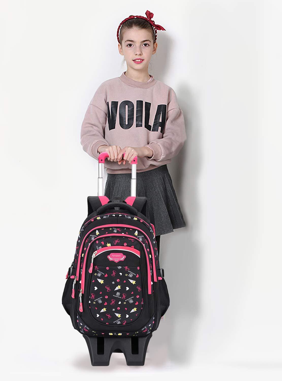 Trolley-RucksackFanspack-Schulrucksack-Trolley-Schultrolley-6-Rder-Schulranzen-Mdchen-Gro-Trolley-Schultasche-Wasserdichter-Rucksack-mit-Rollen-fr-Mdchens-Teenager-und-Kinder-RosaSchwarz