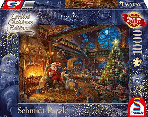 Schmidt-Spiele-Puzzle-59494-Thomas-Kinkade-Der-Weihnachtsmann-und-Seine-Wichtel-Limited-Edition-1000-Teile-bunt