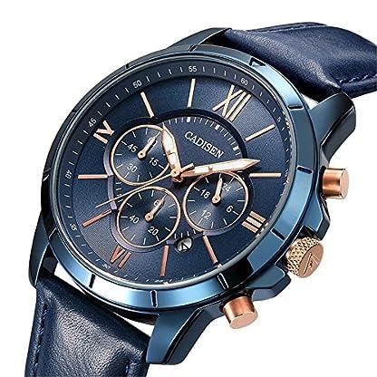 Uhren-fr-MnnerHerren-Chronograph-Wasserdicht-Quarz-Uhren-Analog-Datum-Armbanduhr-mit-Blau-Leder-Gurt