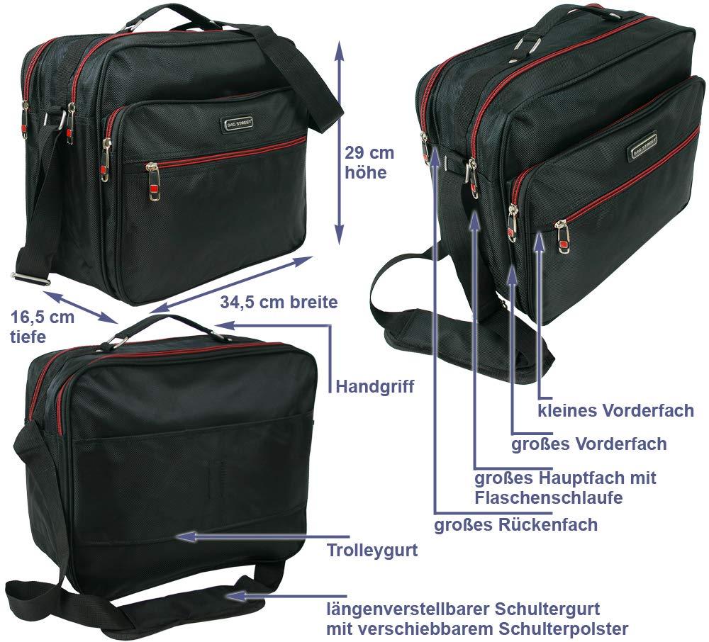 Bag-Street-Hochwertiger-Flugbegleiter-fr-Herren-Arbeitstasche-Herrentasche-aus-robustem-Nylon-Schwarz