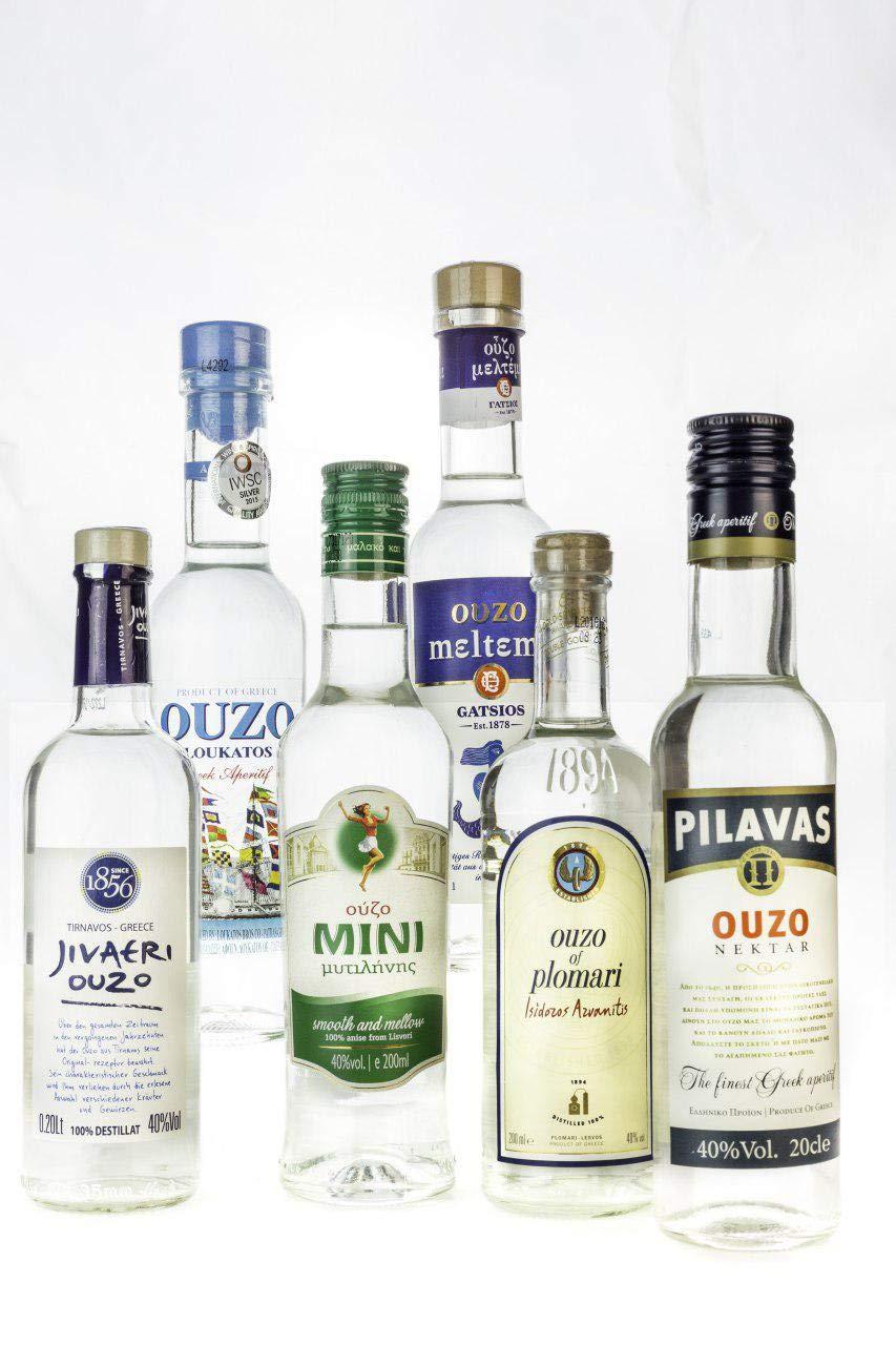 OUZO-Probier-Set-6x-200ml-Ouzo-aus-Griechenland-Tresterbrand–Jivaeri–Pilavas–Plomari–Mini-Mytilini–Loukatos-Meltemi-griechischer-Trester-Anis-Schnaps-Geschenk