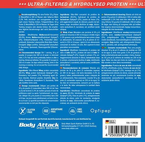 Body Attack 100% Whey Protein, Erdbeere, 1er Pack (1x 900g)