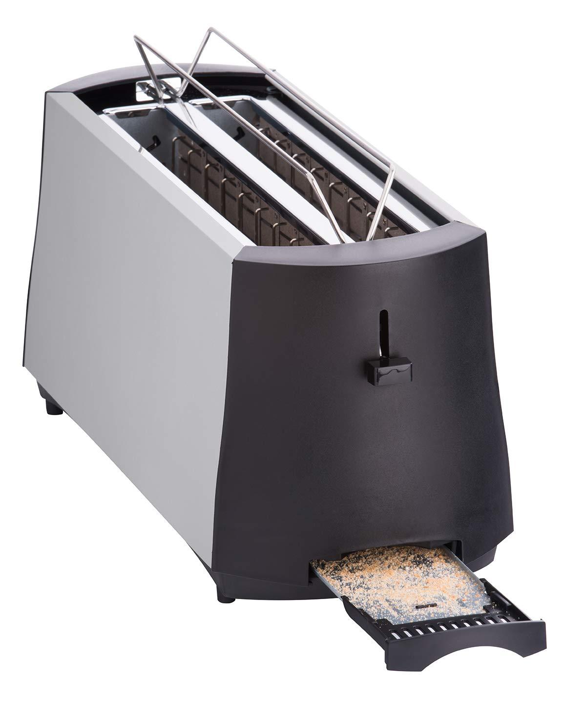 Cloer-3710-Langschlitztoaster-fr-4-Toastscheiben-1380-W-integrierter-Brtchenaufsatz-Nachhebevorrichtung-Krmelschublade-mattiertes-wrmeisoliertes-Metallgehuse