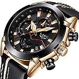 Herren-Chronograph-Uhren-Big-Face-Multifunktional-Wasserdicht-Datum-Kalender-Armbanduhr-fr-Herren-mit-Schwarz-Leder-Band-Fashion-Luxus-Business-Casual-Herren-Sport-Quarz-Business-Watch