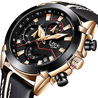 Herren-Chronograph-Uhren-Big-Face-Multifunktional-Wasserdicht-Datum-Kalender-Armbanduhr-fr-Herren-mit-Schwarz-Leder-Band-Fashion-Luxus-Business-Casual-Herren-Sport-Quarz-Business-Watch