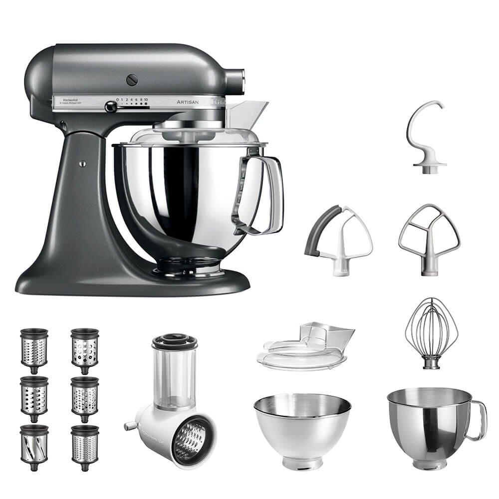 KitchenAid-Kchenmaschine-Artisan-5KSM175PS-Veggie-S-Paket-mit-TOP-Zubehr-Gemseschneider-mit-drei-Trommeln-sowie-zustzlichem-Raspel-und-Reibenpaket-mit-3-weiteren-Trommeln-Medallion-Silber