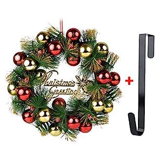 Coxeer-Weihnachten-Kranz-16-in-Weihnachts-Kranz-glitzerndem-Aufgehngte-Kugeln-Ornament-Tr-Decor-Kranz-mit-Haken-Zum-Aufhngen