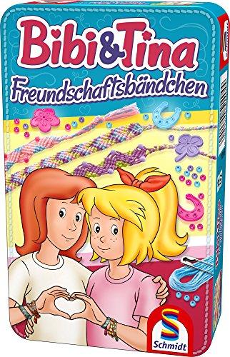 Schmidt-Spiele-51404-Bibi-und-Tina-Freundschaftsbndchen-in-Metalldose-Reisespiel