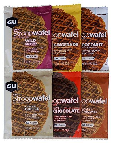 GU Energy Stroopwafel (Sirupwaffel), Testpaket mit 6 Waffeln, unterschiedliche Sorten, 186 g