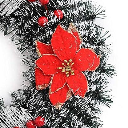 Nikgic-Weihnachten-krnze-Weihnachtsdeko-Trkranz-Dekokranz-Blume-Rote-Beeren-Bowknots-zum-Dekoration-Kamin-Tr-Wand-treppe-Hochzeit-Fensterrahmen-Urlaub-Festival-Zuhause-40cm-Stil-A