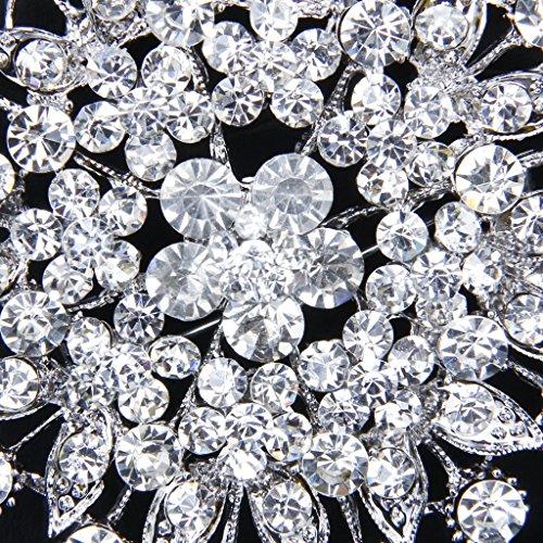 Glitzernden Kristallrhinestone Brauthochzeits Strauß Silber Blume Brosche Pin