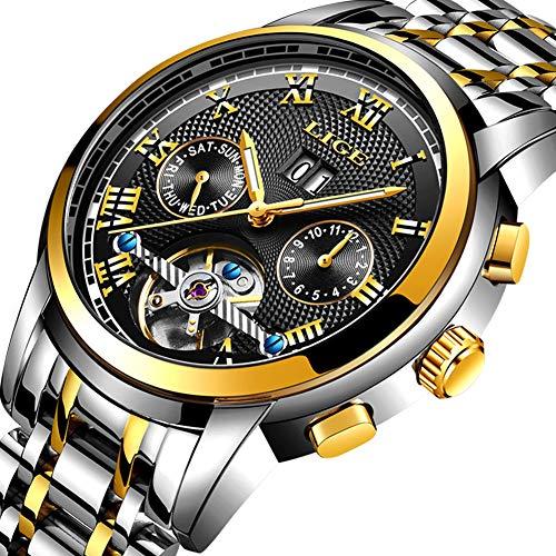 Uhren-HerrenLIGE-Mnner-Edelstahl-Wasserdichte-Automatik-Mechanische-Armbanduhren-Datum-Mode-Lssig-Kleid-Analog-Skelett-Tourbillon-Uhr-Gold-Schwarz