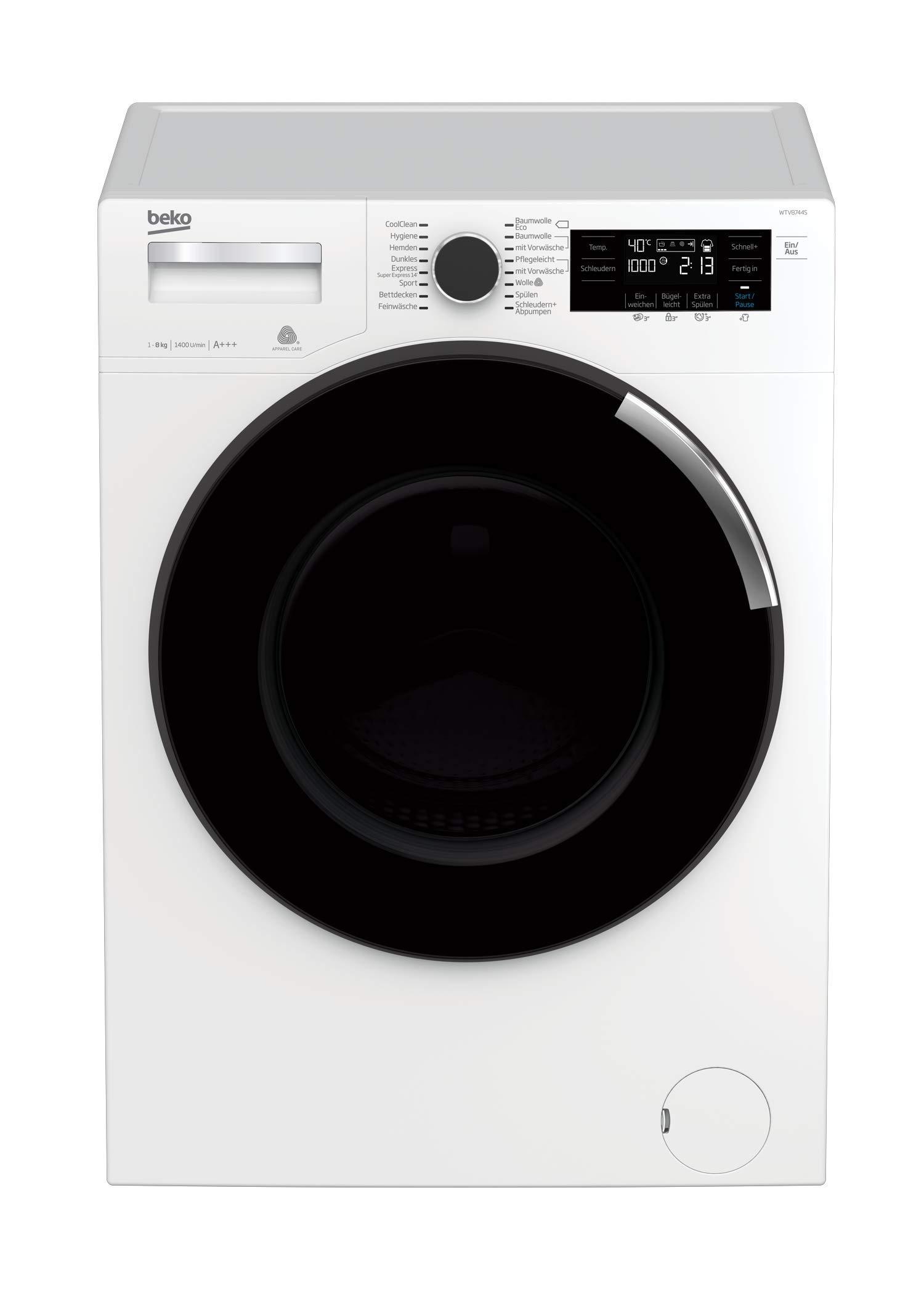 Beko-WTV8744S-Waschvollautomat-Frontlader-8-kg-Digitales-Touch-Display-ProSmart-Inverter-Motor-XL-Tr-34-cm-nur-49-dBA-beim-Waschen