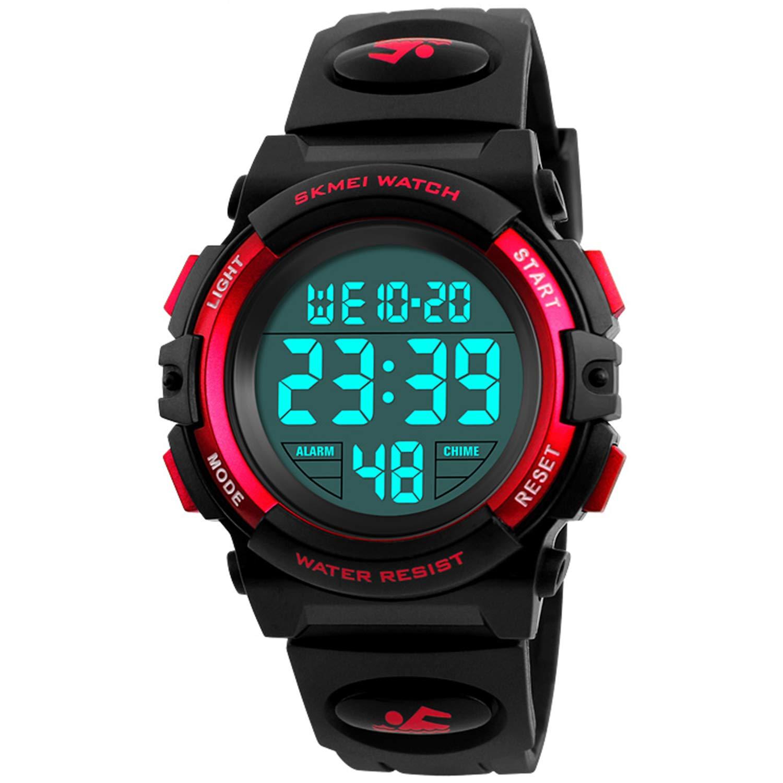 Jungen-Digitaluhr-Kindersport-Wasserdichte-Gefhrte-Uhren-mit-Warnungs-Armbanduhren-fr-Kinder
