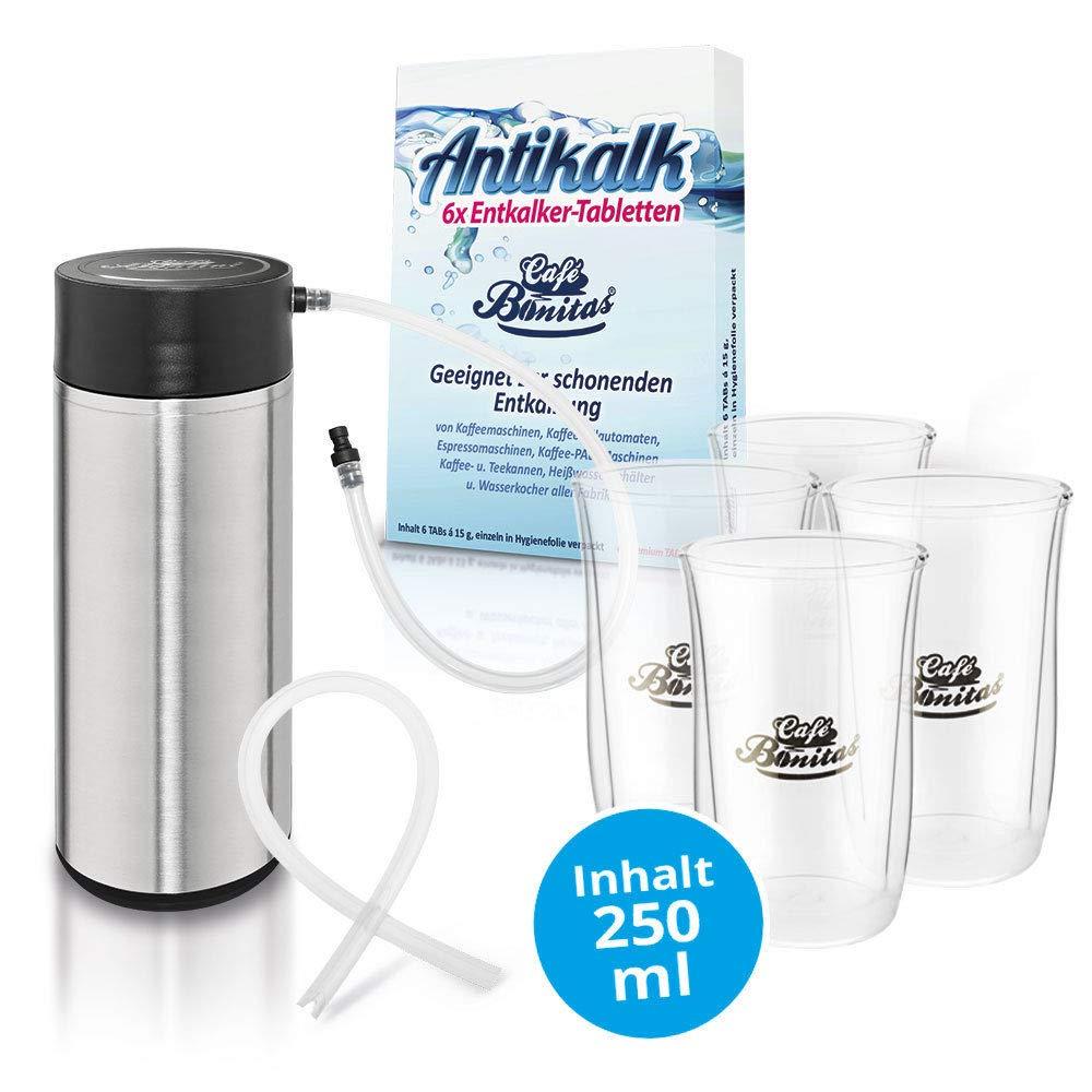 clever-sparen-Sparpaket-Cafe-Bonitas-Thermo-Milchbehlter-4-Thermoglser–6-Entkalkertabletten-Ersatzmilchschlauch-fr-Kaffeevollautomat-Kaffeeautomat-Kaffeemaschine