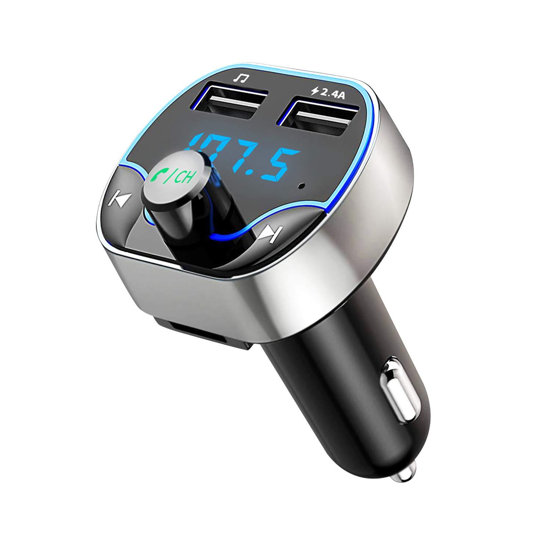 Bluetooth-FM-Transmitter-Hotchy-Bluetooth-Auto-Radio-Transmitter-Freisprecheinrichtung-Auto-Adapter-mit-Dual-USB-Anschlsse-Lesen-Mikro-SD-Karte-for-iOS-und-Android-Bluetooth-Gerte