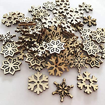 ZOYLINK-100PCS-Christmas-Wood-Slice-Natural-Snowflake-Wood-Craft-for-DIY-Ornaments