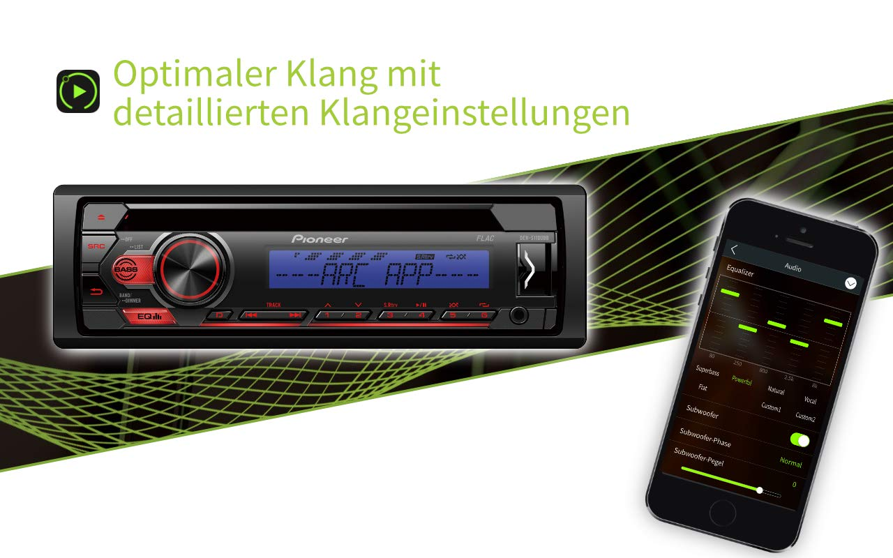 Pioneer-DEH-S110UB-1DIN-RDS-Autoradio-mit-roter-Tastenbeleuchtung-Display-wei-Android-Untersttzung-5-Band-Equalizer-CD-MP3-USB-AUX-Eingang