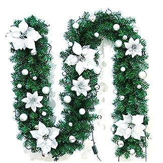 FunPa-Weihnachtsgirlande-886Ft-Holiday-Garland-Flower-Knstliche-Kieferngirlande-mit-Weihnachtskugeln-Warme-weie-batteriebetriebene-LED-Lichter-fr-Weihnachtsdekor