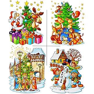 alles-meinede-GmbH-statisch-haftende-XL-Fensterbilder-Weihnachten-Weihnachtsbaum-Schneemann-Weihnachtsmann-Sternsinger-wiederverwendbar-selbstklebend-Sticker