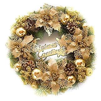 BIGBOBA-Weihnachtskranz-Trschmuck-Wandkranz-Weihnachtskranz-Weihnachten-Kranz-Adventskranz-Winterkranz-Dekokranz-30cm30cm-Gold